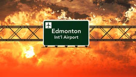 edmonton: Edmonton Canada Airport Highway Sign in an Amazing Sunset Sunrise 3D Illustration Stock Photo