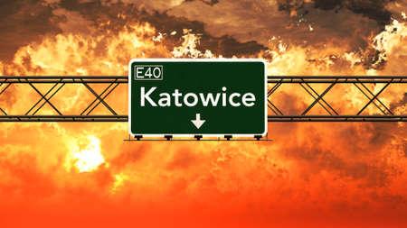 Katowice Poland Highway Sign in a Breathtaking Sunset Sunrise 3D Illustration