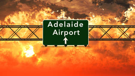 adelaide: Adelaide Airport Highway Sign in an Amazing Sunset Sunrise 3D Illustration Stock Photo