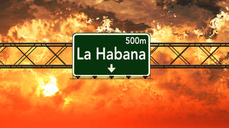 havana cuba: Havana Cuba Highway Sign in a Breathtaking Sunset Sunrise 3D Illustration