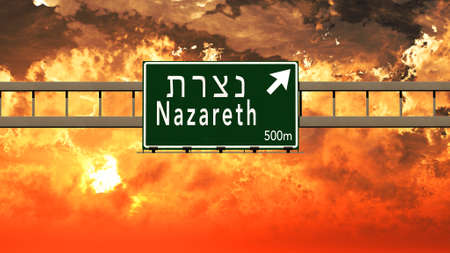 nazareth: Nazareth Israel Highway Sign in a Breathtaking Sunset Sunrise 3D Illustration Stock Photo