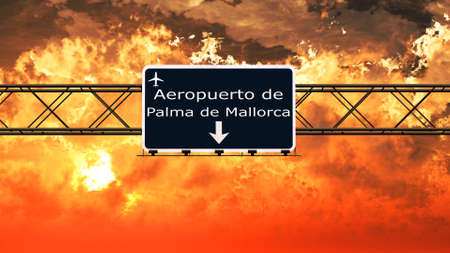 airfield: Palma De Mallorca Spain Airport Highway Sign in an Amazing Sunset Sunrise 3D Illustration