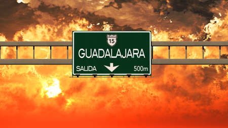 guadalajara: Guadalajara Mexico Highway Sign in a Breathtaking Sunset Sunrise 3D Illustration