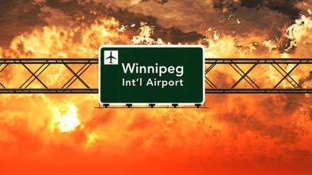 winnipeg: Winnipeg Canada Airport Highway Sign in an Amazing Sunset Sunrise 3D Illustration