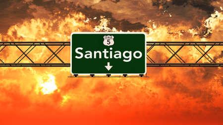 santiago: Santiago Chile Highway Sign in a Breathtaking Sunset Sunrise 3D Illustration