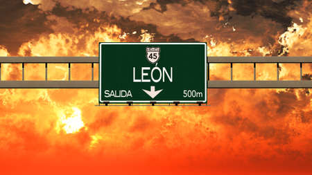 leon: Leon Mexico Highway Sign in a Breathtaking Sunset Sunrise 3D Illustration
