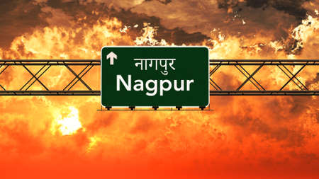 nagpur: Nagpur India Highway Sign in a Breathtaking Sunset Sunrise 3D Illustration