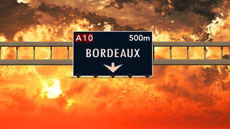 bordeaux: Bordeaux France Highway Sign in a Breathtaking Sunset Sunrise 3D Illustration