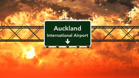 airfield: Auckland New Zealand Airport Highway Sign in an Amazing Sunset Sunrise 3D Illustration