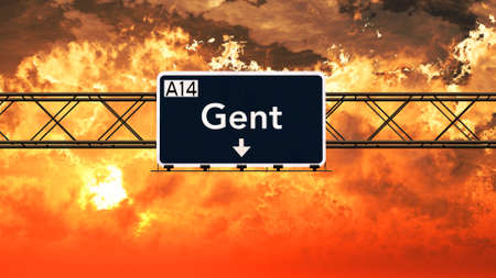 gent: Gent Belgium Highway Sign in a Breathtaking Sunset Sunrise 3D Illustration Stock Photo