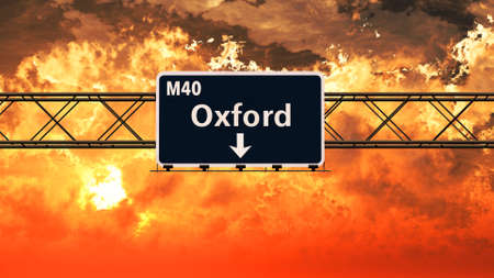oxford: Oxford United Kingdom Highway Sign in a Breathtaking Sunset Sunrise 3D Illustration