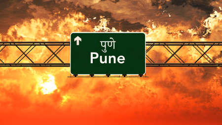 pune: Pune India Highway Sign in a Breathtaking Sunset Sunrise 3D Illustration