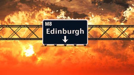 edinburgh: Edinburgh Scotland Highway Sign in a Breathtaking Sunset Sunrise 3D Illustration Stock Photo