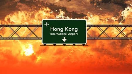 hong kong street: Hong Kong Lap Kok China Airport Highway Sign in an Amazing Sunset Sunrise 3D Illustration Stock Photo