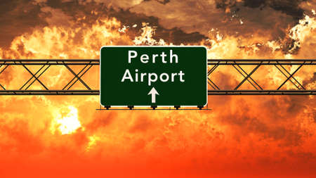 airfield: Perth Australia Airport Highway Sign in an Amazing Sunset Sunrise 3D Illustration Stock Photo
