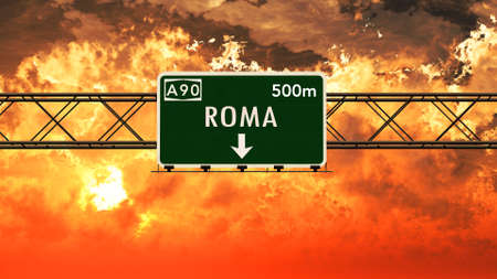roma: Roma Italy Highway Sign in a Breathtaking Sunset Sunrise 3D Illustration