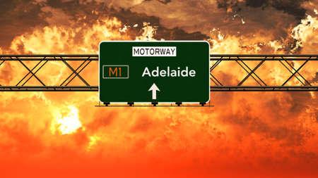 adelaide: Adelaide Australia Highway Sign in a Breathtaking Sunset Sunrise 3D Illustration