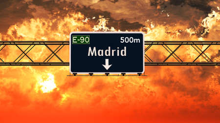 madrid spain: Madrid Spain Highway Sign in a Breathtaking Sunset Sunrise 3D Illustration Stock Photo