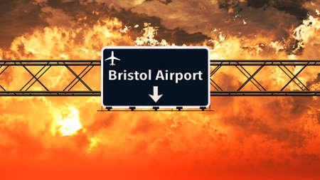 bristol: Bristol England Airport Highway Sign in an Amazing Sunset Sunrise 3D Illustration