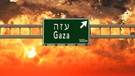 gaza: Gaza Israel Highway Sign in a Breathtaking Sunset Sunrise 3D Illustration Stock Photo