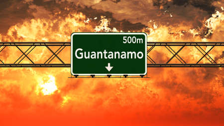 guantanamo: Guantanamo Cuba Highway Sign in a Breathtaking Sunset Sunrise 3D Illustration