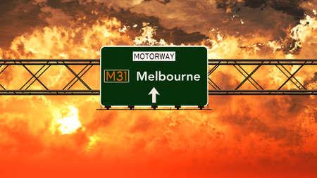 melbourne australia: Melbourne Australia Highway Sign in a Breathtaking Sunset Sunrise 3D Illustration Stock Photo