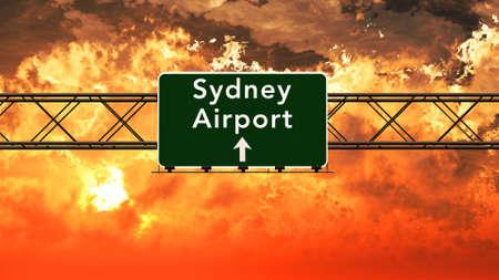 city limit: Sydney Australia Airport Highway Sign in an Amazing Sunset Sunrise 3D Illustration Stock Photo