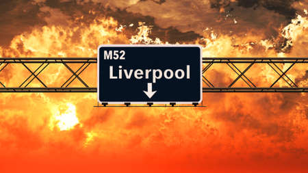 liverpool: Liverpool United Kingdom Highway Sign in a Breathtaking Sunset Sunrise 3D Illustration