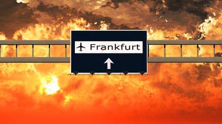 frankfurt germany: Frankfurt Germany Airport Highway Sign in an Amazing Sunset Sunrise 3D Illustration