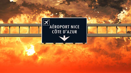 french board: Nice France Airport Highway Sign in an Amazing Sunset Sunrise 3D Illustration