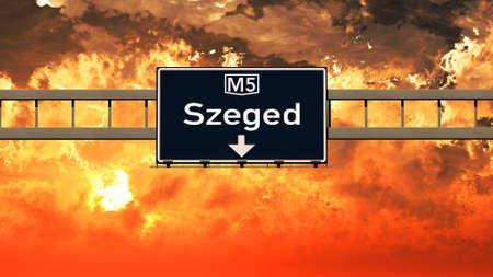szeged: Szeged Hungary Highway Sign in a Breathtaking Sunset Sunrise 3D Illustration Stock Photo