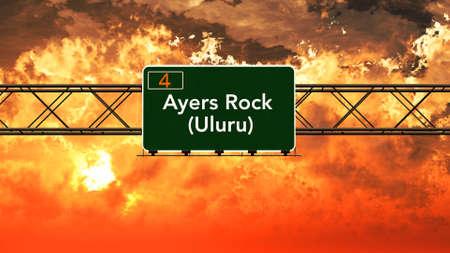 ayers: Ayers Rock Australia Highway Sign in a Breathtaking Sunset Sunrise 3D Illustration