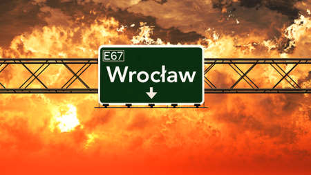wroclaw: Wroclaw Poland Highway Sign in a Breathtaking Sunset Sunrise 3D Illustration Stock Photo