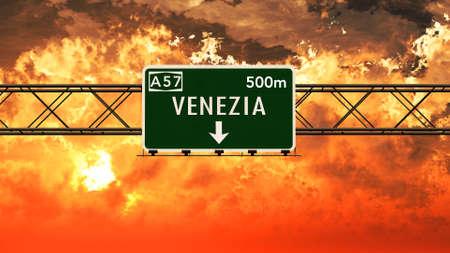 venezia: Venezia Italy Highway Sign in a Breathtaking Sunset Sunrise 3D Illustration Stock Photo