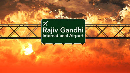 hyderabad: Hyderabad India Airport Highway Sign in an Amazing Sunset Sunrise 3D Illustration