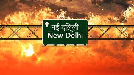 New Delhi India Highway Sign in a Breathtaking Sunset Sunrise 3D Illustration