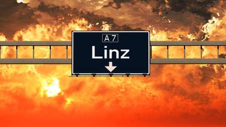 linz: Linz Austria Highway Sign in a Breathtaking Sunset Sunrise 3D Illustration
