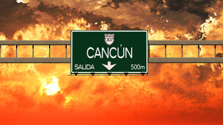 cancun: Cancun Mexico Highway Sign in a Breathtaking Sunset Sunrise 3D Illustration