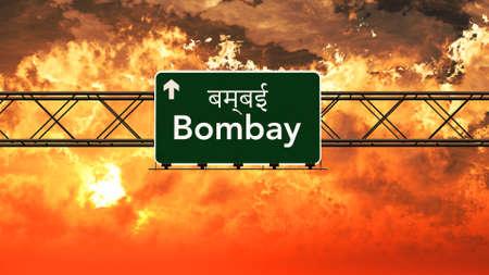 bombay: Bombay India Highway Sign in a Breathtaking Sunset Sunrise 3D Illustration
