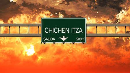chichen itza: Chichen Itza Mexico Highway Sign in a Breathtaking Sunset Sunrise 3D Illustration