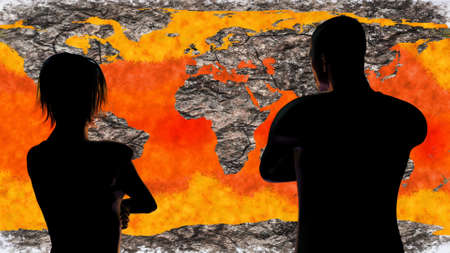 Woman and Man Watching Death of Earth Global Warming Simulation 3D Illustration Banque d'images