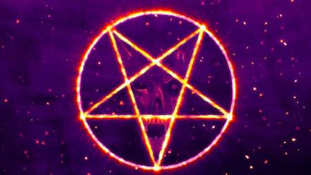 satanist: Inverted Pentagram Symbol with the Face of the Evil Illustration