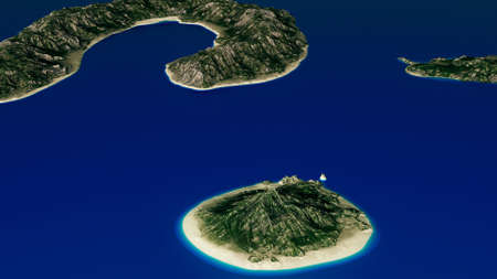 Small Volcanic Islands in the Ocean Aerial 3D Illustration Stock Photo