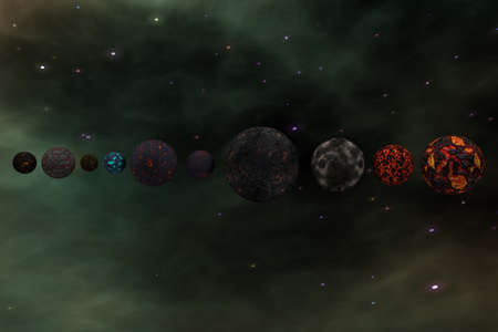 gamma radiation: Planets in Outer Space Galaxy 3D Illustration