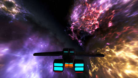 gamma radiation: Spaceship Flying in Nebula in Galaxy Outer Space 3D Illustration