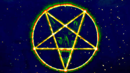 Inverted Pentagram Symbol with the Face of the Evil Illustration