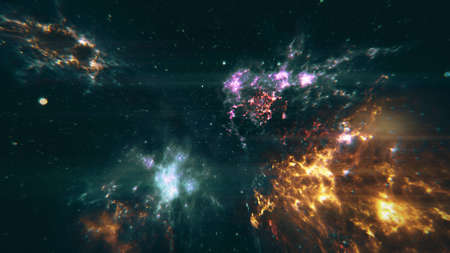 gamma radiation: Flying through Nebulas in Galaxy out to Outer Space 3D Illustration Stock Photo