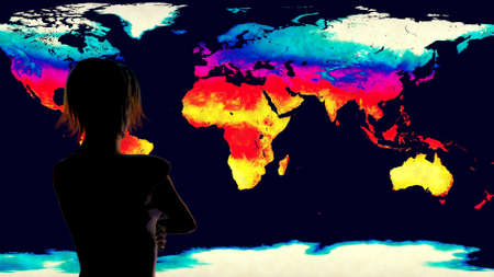 Woman Watching Earth Global Warming Simulation 3D Illustration