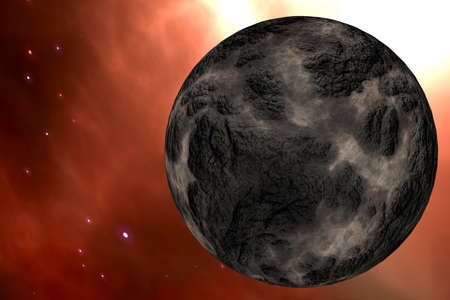 gamma radiation: Planet in Outer Space Galaxy 3D Illustration