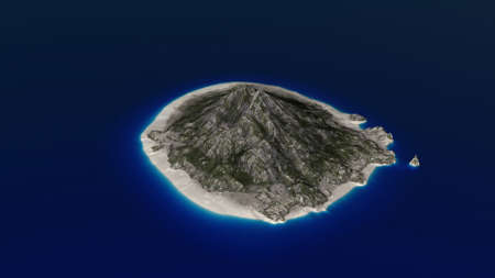 faraway: Small Volcanic Islands in the Ocean Aerial 3D Illustration Stock Photo